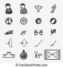 ícones, desporto, set., ilustração, eps10
