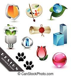 ícones, elementos, desenho