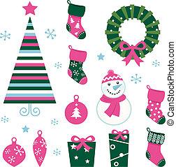 ícones, elementos, (green, isolado, alfinete, natal, caricatura, &, branca