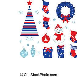 ícones, elementos, isolado, natal, blue), caricatura, &, (red, branca