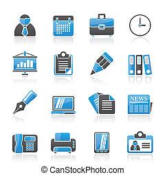 ícones escritório, negócio