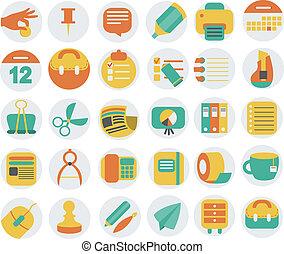 ícones, escritório negócio, jogo, apartamento
