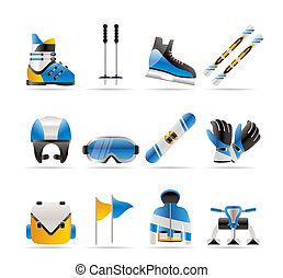 ícones, esqui, equipamento, snowboard