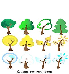 ícones, estações, quatro, árvore