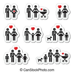 ícones, família, pregna, pessoas, -, bebê