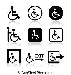 ícones, homem, incapacitado, cadeira rodas