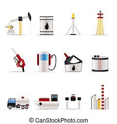 ícones, indústria, petrol, óleo