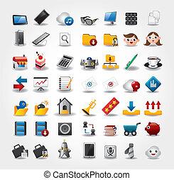 ícones, internet web, jogo, site web, &, ícones