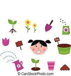 ícones, &, jardim, primavera, natureza