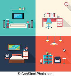ícones, jogo, criativo, mobília, desenho, apartamento