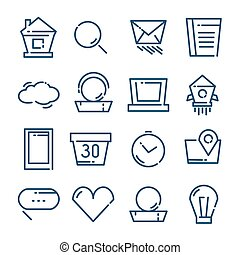 ícones, jogo, ilustração, vetorial, linha magra