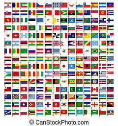 ícones, jogo, mundo, bandeira