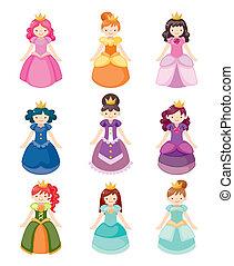 ícones, jogo, princesa, caricatura, bonito