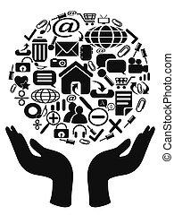 ícones, mãos, segurando