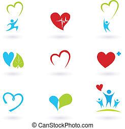 ícones, médico, branca, saúde