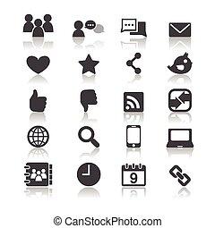 ícones, mídia, social