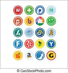 ícones, mídia, social, vetorial