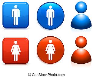 ícones, macho, femininas