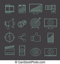 ícones, marketing, vetorial, vídeo, magra, digital, linha, anunciando