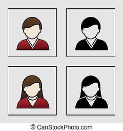 ícones, -, membro, vetorial, avatar, femininas, usuário, macho