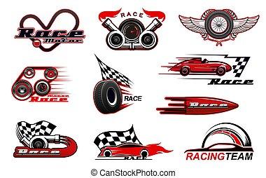 ícones, motorsport, vetorial, correndo, car