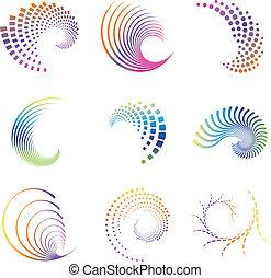ícones, movimento, onda, desenho