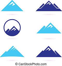 ícones, ou, montanha, isolado, colina, branca