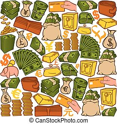ícones, padrão, dinheiro, seamless