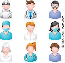 ícones, pessoas, -, médico