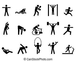 ícones, pessoas, pretas, jogo, condicão física