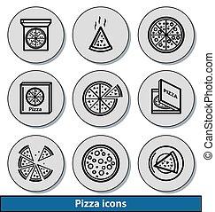 ícones, pizza, luz