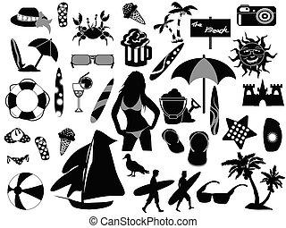 ícones, praia, fundo, branca