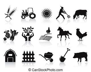 ícones, pretas, jogo, fazenda, agricultura