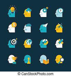 ícones, projeto fixo, apartamento, conceito