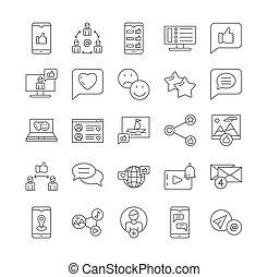 ícones, redes, linha, mídia, social, relatado, vetorial