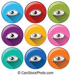ícones, redondo, olhos