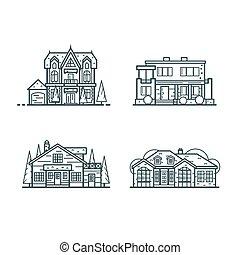 ícones, residencial, casas, linha, magra