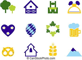 ícones, símbolos, octoberfest, alemanha, isolado, &, branca