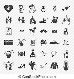 ícones, set., ilustração, casório