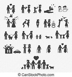 ícones, set., ilustração, família