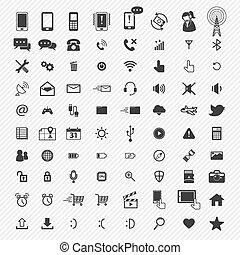 ícones, set., ilustração, móvel