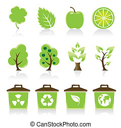 ícones, seu, jogo, 12, ambiental, verde, desenho, idéia