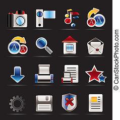 ícones, site web, internet