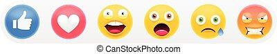 ícones, social, emoji, jogo, semelhante, 3d