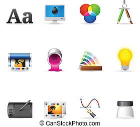 ícones, teia, imprimindo, desi, -, gráfico, &