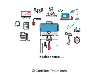 ícones, trabalhador, escritório negócio