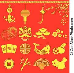 ícones, tradução, novo, estouro, fraseio, chinês, ano