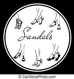 ícones, verão, pacote, branca, pretas, sandálias