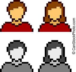 ícones, vetorial, avatar, femininas, macho, pixel