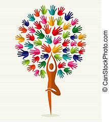 índia, ioga, árvore, mãos